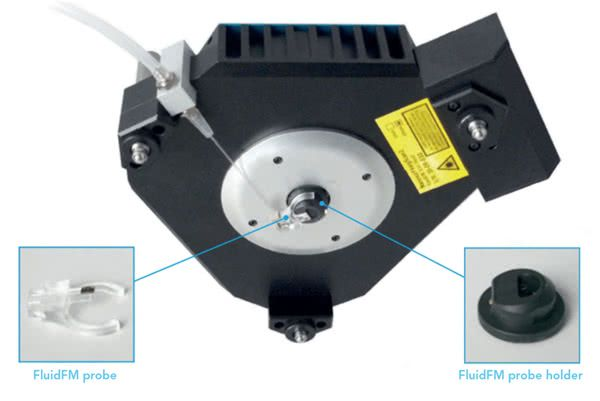 AFM system (Nanosurf FlexAFM scan head) with a mounted FluidFM probe for variety of AFM applications.