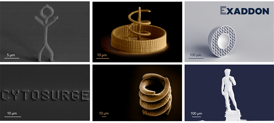 Printed objects by Exaddon AG