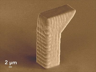 Solid object with overhang printed with FluidFM
